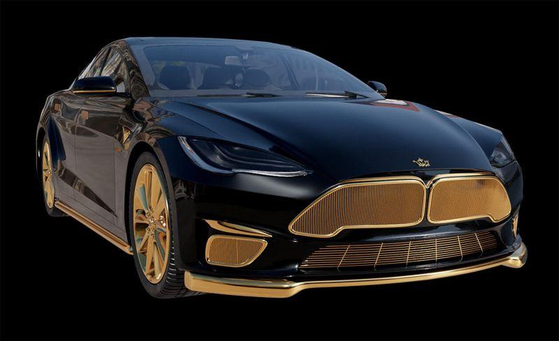 سيارة تيسلا مغطاة بالذهب سعرها يتجاوز مليون ريال!