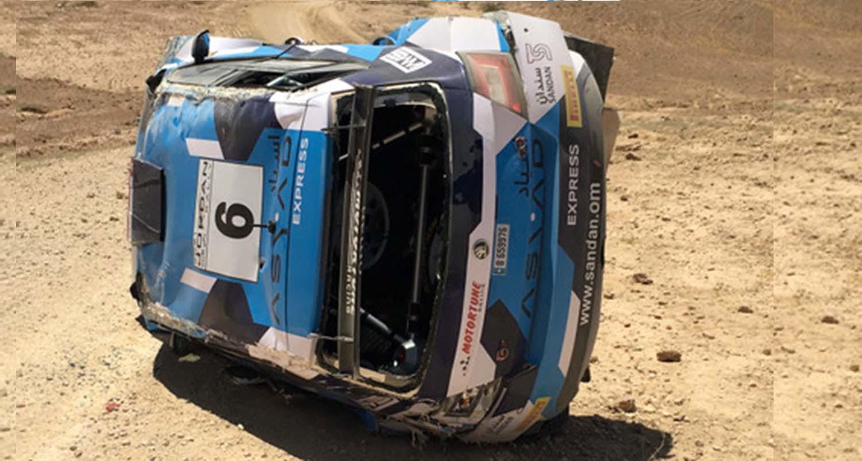 العطية يقترب من الفوز برالي الأردن الدولي بعد انسحابٌ حمد الوهيبي اثر تعرضه لحادث خلال التجارب اليوم