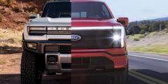 """مقارنة نارية بين شاحنة فورد F-150 """"البرق"""" و هامر GMC EV"""